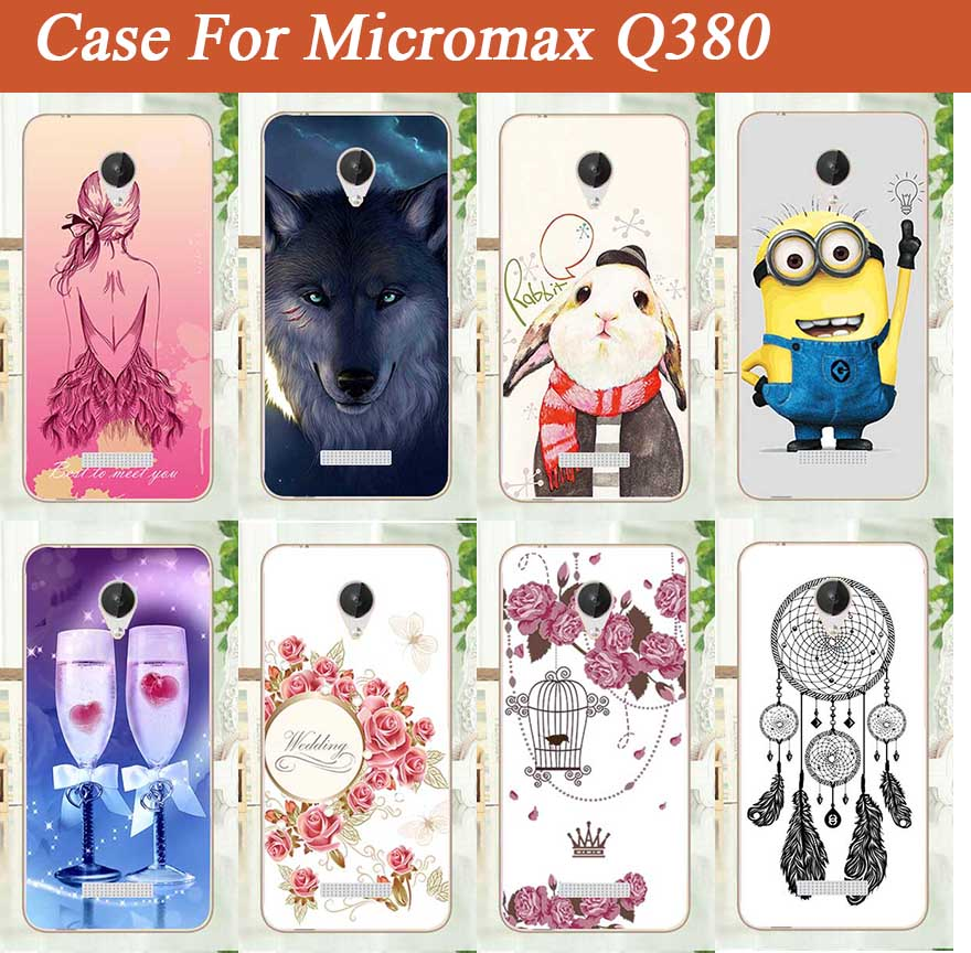 High Qaulity DIY Painted Case For Micromax Q380 Soft TOU Silicone Patterns Cell Phone Cover For Micromax Q380 q380