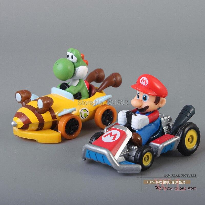Free Shipping Anime Cartoon Super Mario Bros Mario NO.144 Yoshi NO.150 Metal Mini Car Kart Model Toys Dolls SMFG231