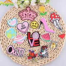 ZOTOONE Pink Crown Sequins Patches Iron On Girls Letter OUT Unicorn Appliqued Stickers For Kids Clothes Badges Small Emoji Patch