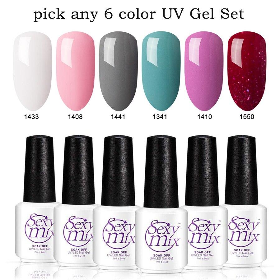 Sexymix 6pcs / lot Nude Pink spalvų rinkinys LED nagų gelis profesionalus prancūziškas manikiūro želė nagų lakas nustatyti manikiūro UV gelio lakų rinkinys