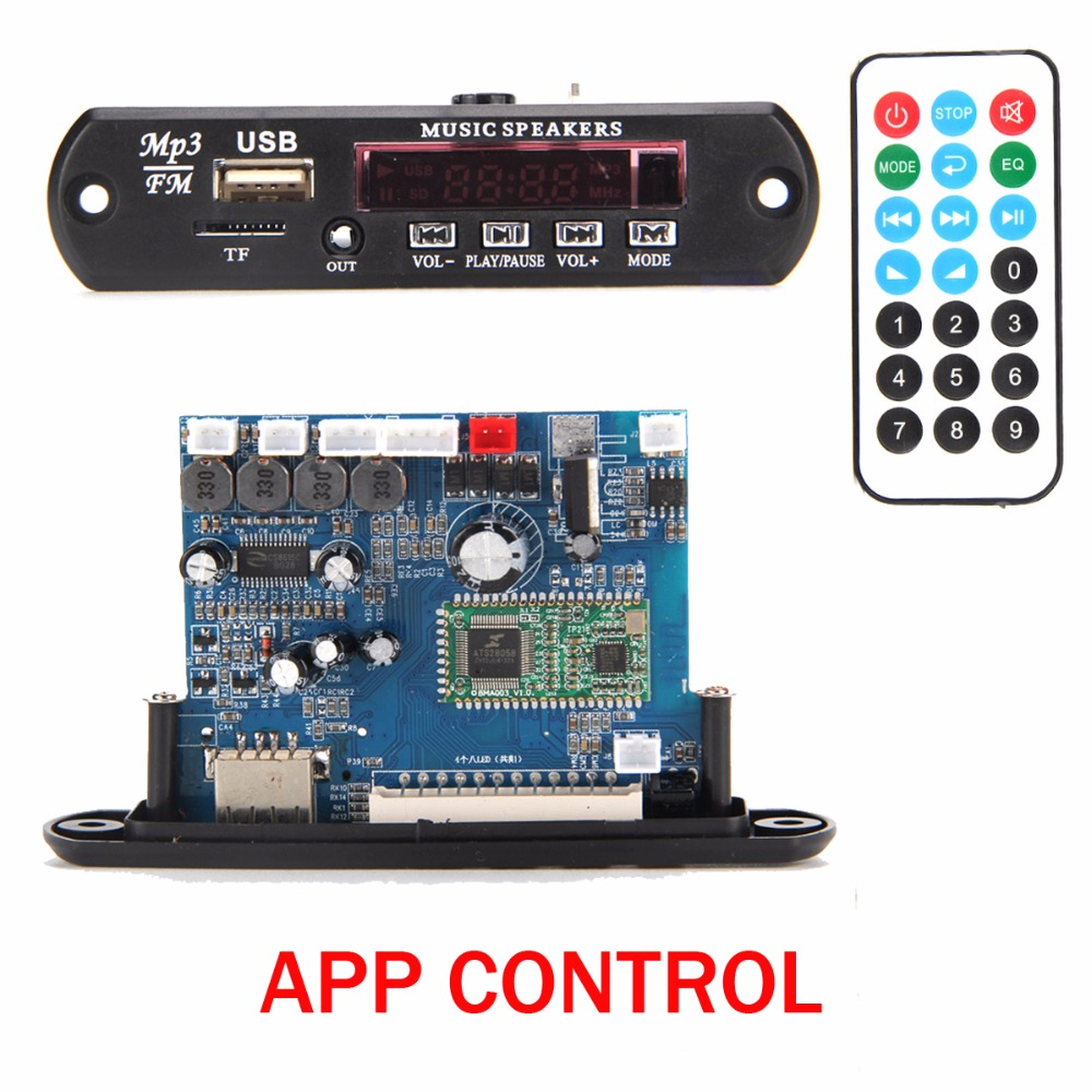 APP Control Bluetooth 4.0 MP3 Decoding Board Module 2*10w power amplifier TF Card USB FM APE FLAC WAV WMA Decoder Board  Red LED dc 5v bluetooth audio receiver module usb tf sd card decoding board preamp output support fat32 system
