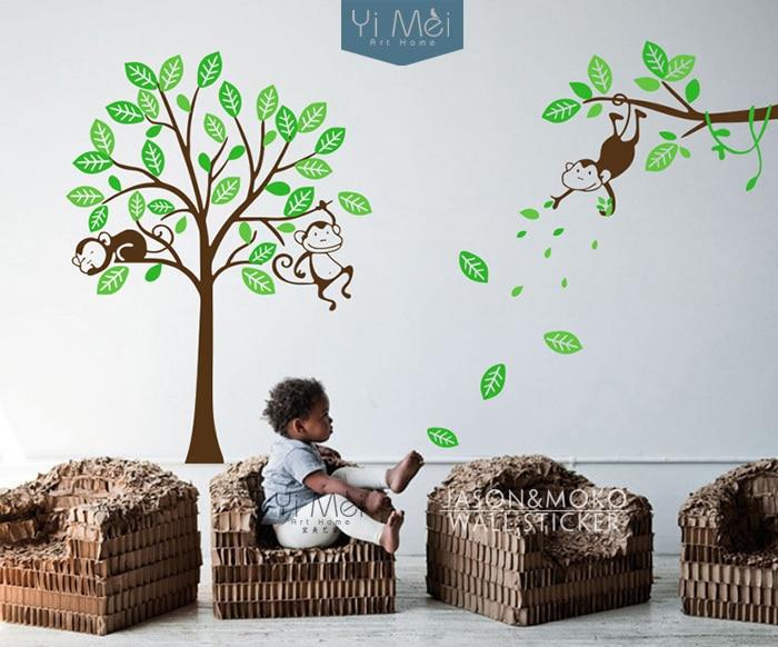 Brown Green Wall Art Tree Decal Boy Nursery Blue Green Decal C001 D01 Blue Wall Stickers Monkey Branch Decal Monkey Decals