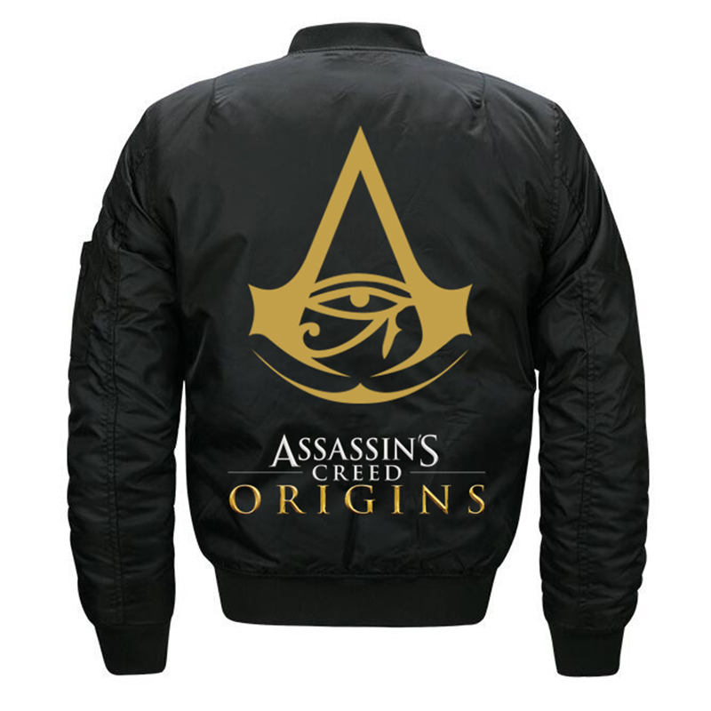Winter Thick Quilted Pilot Coat Assassins Creed <font><b>Jacket</b></font> <font><b>Bomber</b></font> Black Navy Blue Burgundy Red Olive Asassins Assasins Origins