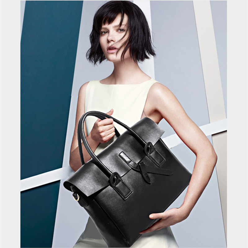2019 New genuine leather Women business briefcase 14 inch laptop handbags female original design ladies big shoulder bags