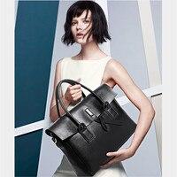 2019 New genuine leather Women briefcase business 14 inch laptop handbags female original crossbody bag ladies big shoulder bags