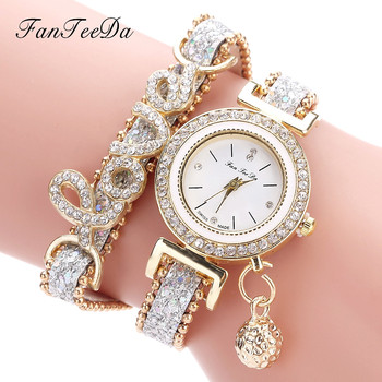 FanTeeDa Women's Fashion Love Word Leather Strap Bracelet Ladies Quartz Watches 1