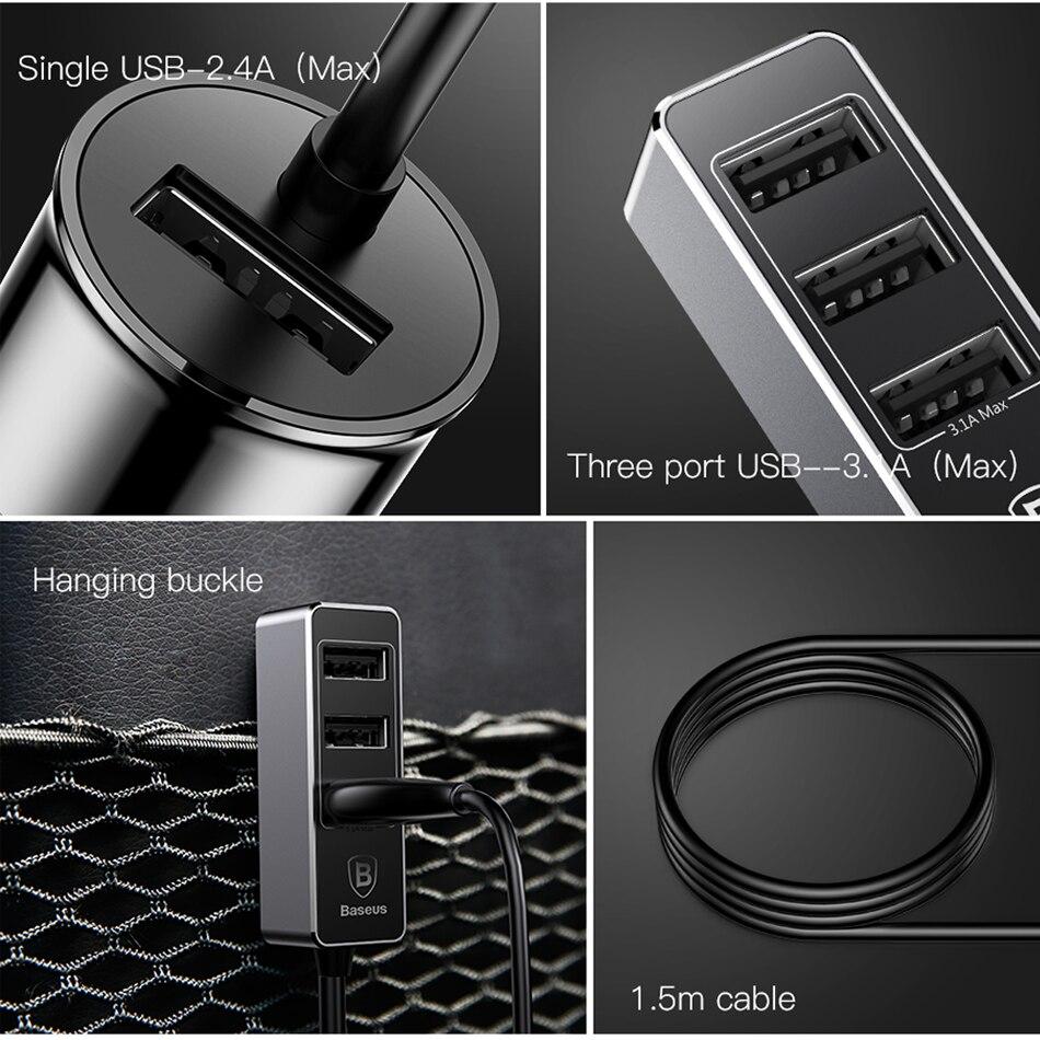 4 USB Car Charger - Cigarette Lighter Car Fast Charging USB Port 4