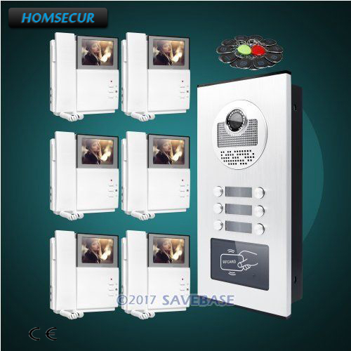 HOMSECUR 4.3 LCD Video Door Entry Intercom Kit with Night Vision Camera for 6 Families