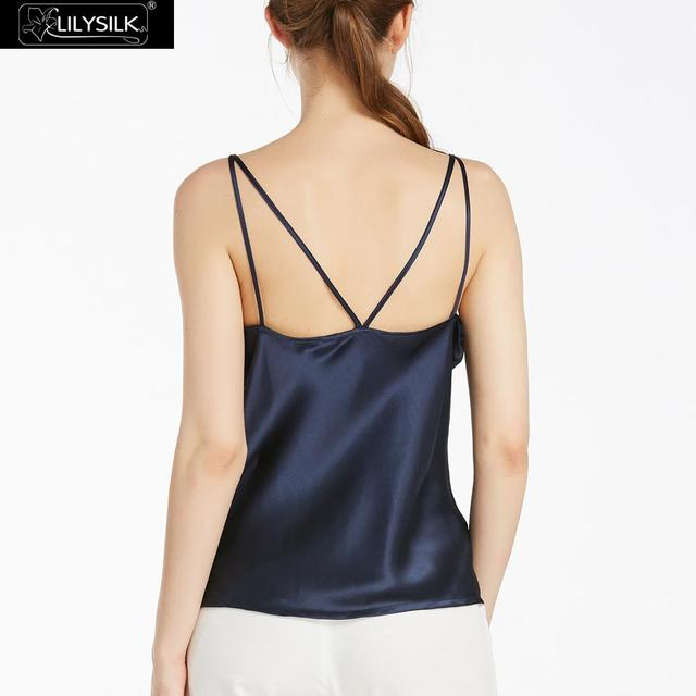 LILYSILK Womens Silk Camisole Top 22MM Double Strap Pure 100% Basic Lingerie Charmeuse Soft Navy Blue
