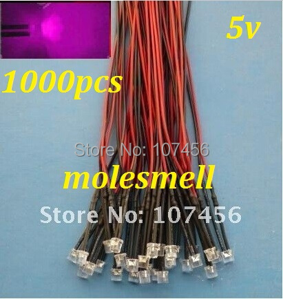 Free Shipping 1000pcs 5mm Flat Top Pink LED Lamp Light Set Pre-Wired 5mm 5V DC Wired 5mm 5v Big/wide Angle Pink Led