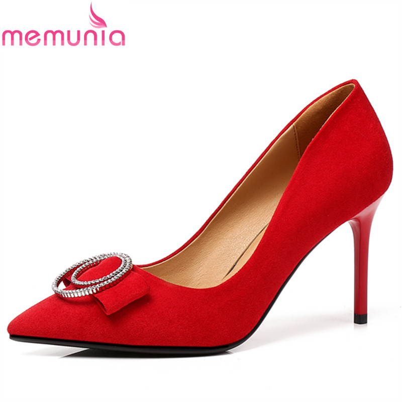 MEMUNIA women pumps dress shoes spring autumn thin heels pointed toe classic elegant high quality rhinestone black dance shoes memunia flock pointed toe ladies summer high heels shoes fashion buckle color mixing women pumps elegant lady prom shoes