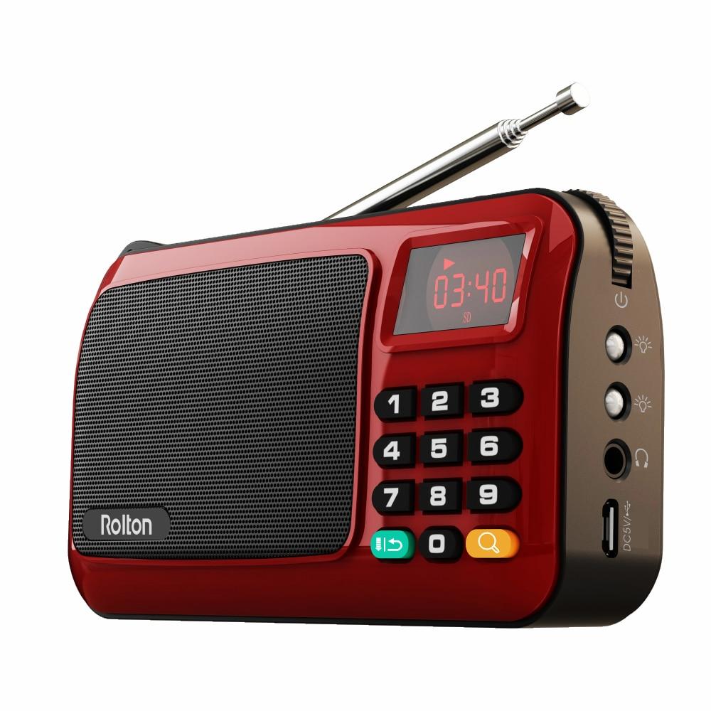 Rolton w405 portátil mini rádio fm alto-falante leitor de música tf cartão usb para pc ipod telefone com display led