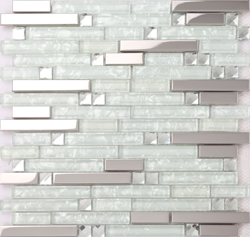 Strip Diamand And Glossy Stainless Steel Mixed Clear Glass Mosaic