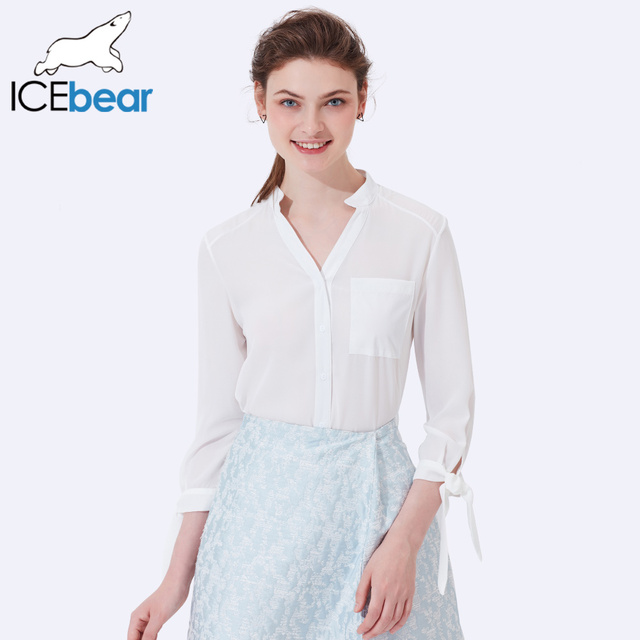 ICEbear 2017 Business Office Suit Blouses For Women Summer Fashion Full Sleeve Chiffon Shirts Female Clothing 2005D