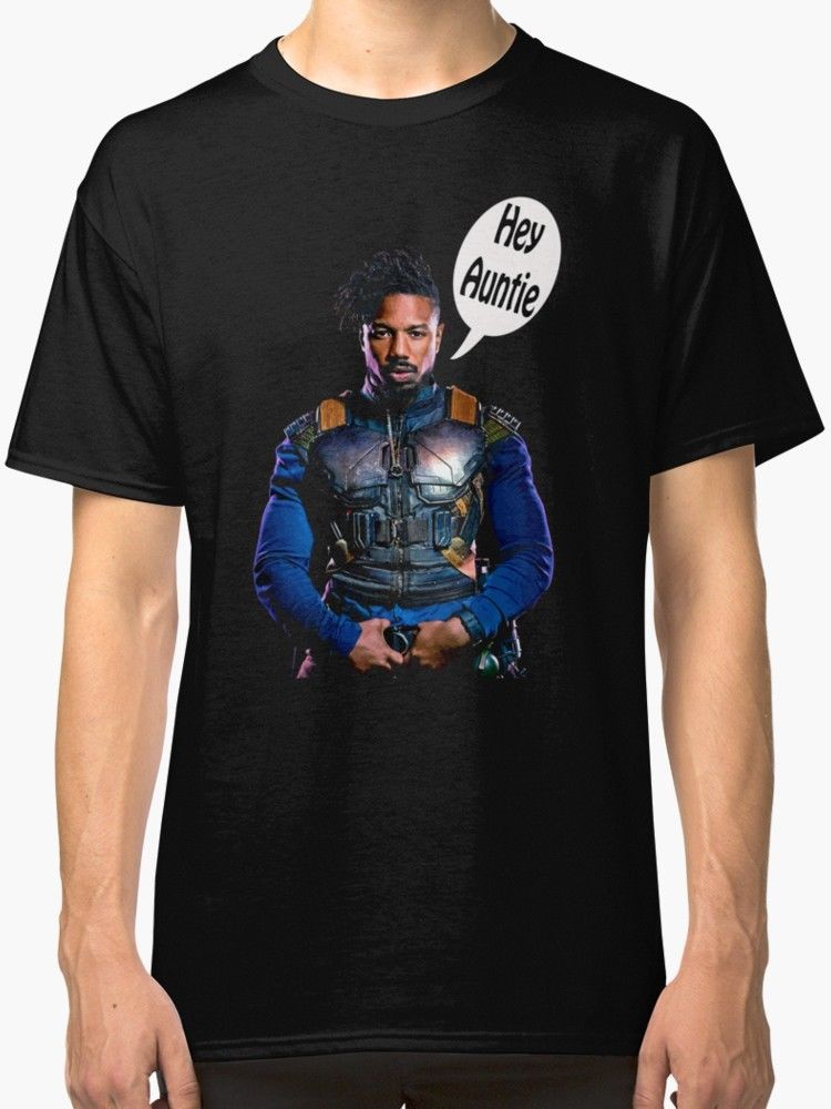 Erik Killmonger Hey Auntie Mens T Shirt Black MenS T-Shirts Short Sleeve O-Neck Cotton Print Tee Shirt for Male