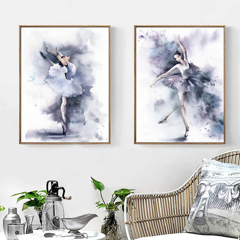 SURE LIFE Modern Watercolor Ballet Dance Poster Canvas Printings Wall Art Paintings Pictures for Kids Bedroom Home Decorations