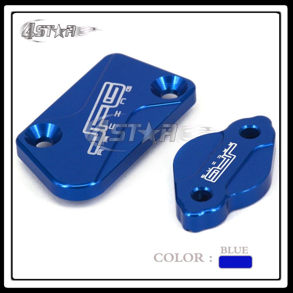 CNC Blue Front&Rear Brake Reservoir Fluid Cover Fit YZ125 YZ250 YZ250F YZ450F YZ250FX Motorcycle MX Enduro Motocross Dirt Bike