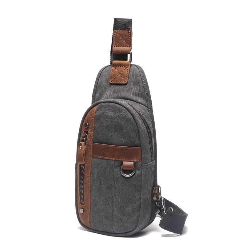 Новое прибытие серая мужская холщовая, на одно плечо сумка с Crazy Horse кожаная высококачественная повседневная сумка через плечо для путешествий H053