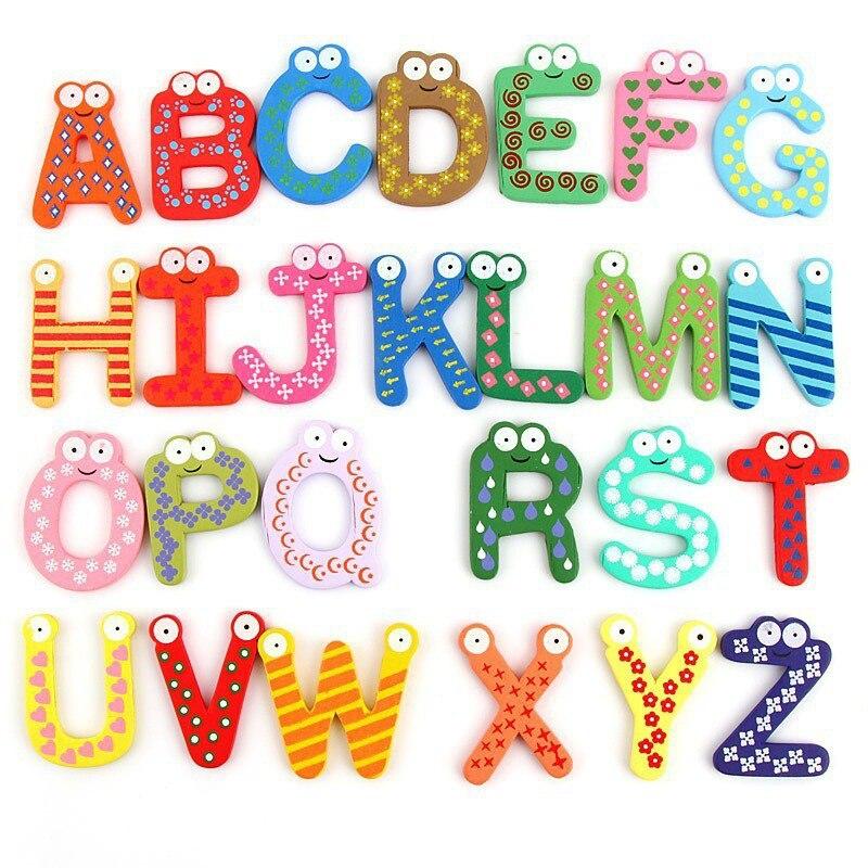 26 шт./компл. Алфавит заглавными буквами магнит на холодильник деревянные и магнитная Наклейки мультфильм детские развивающие Игрушечные ло...