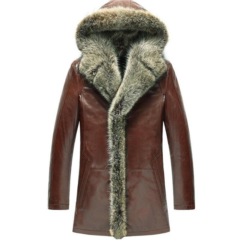 Для мужчин Женская Шуба Дубленки роскошный енот меховой воротник парка с капюшоном Для мужчин тонкая кожа овчины Длинная Верхняя одежда TJ50