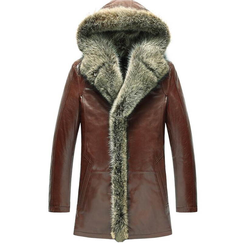 Men s Fur Coat Shearling Coats Luxury Raccoon Fur Collar Hooded Parka Men Slim Sheepskin Leather