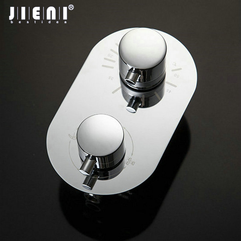 JIENI Wall Mounted Bathroom Round Shower Mixer Faucet Control Valve With Diverter 5525 Thermostatic yanksmart wall mounted thermostatic faucet double handles faucet spout filler diverter chrome bathtub shower faucet valve mixer