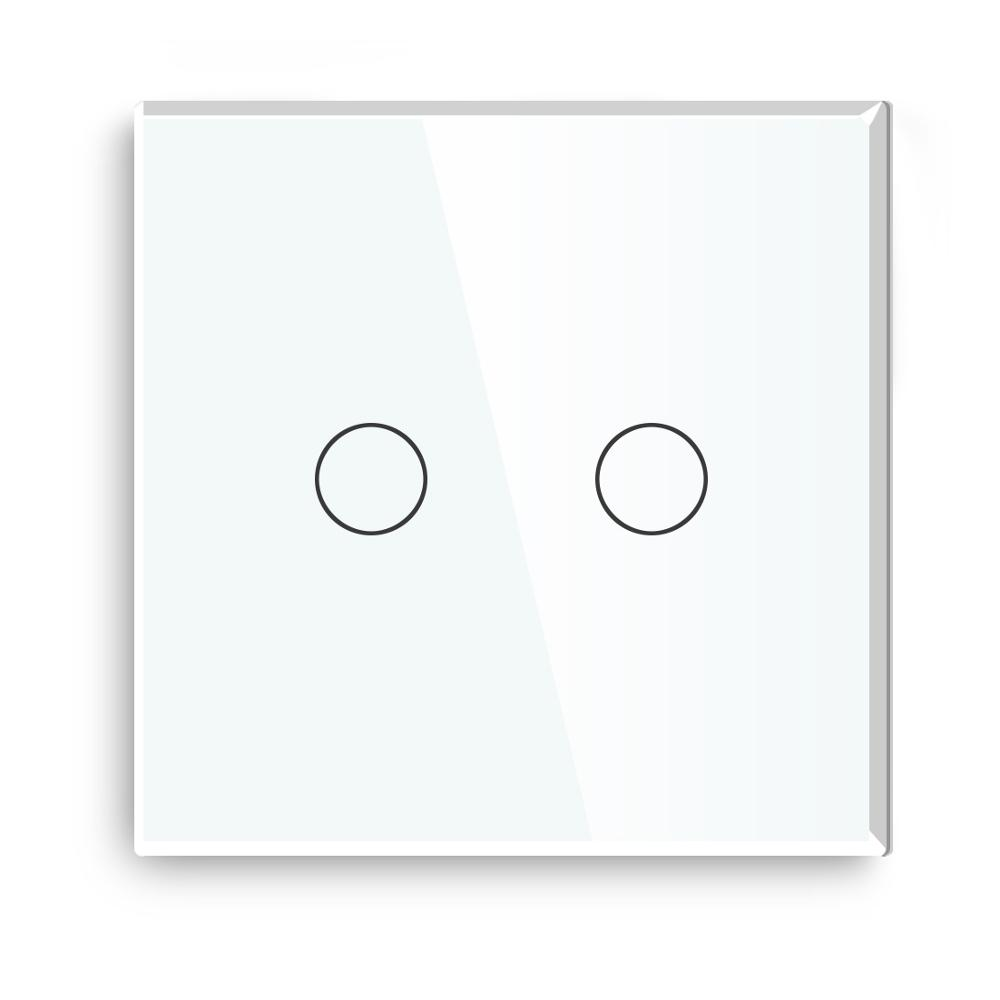 Bseed 240v Touch Switch 2 Gang 1 Way Dimmable Switch With