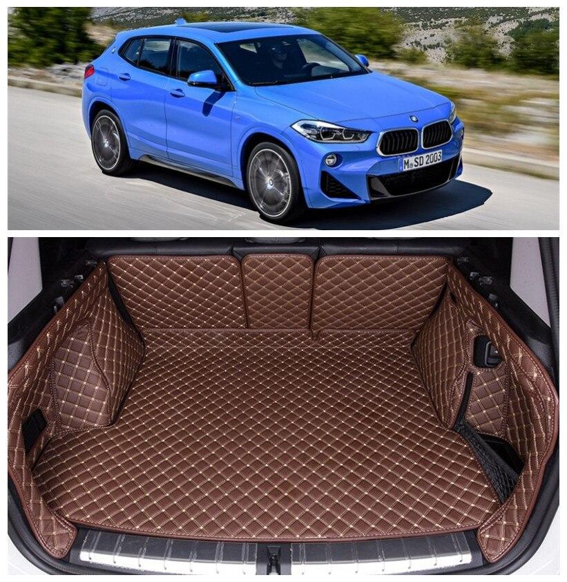 Pour BMW X2 F39 2018 2019 Plein Plateau Arrière Doublure Tapis protecteur D'espace Utilitaire Plancher Protecteur pied tapis de Broderie En Cuir