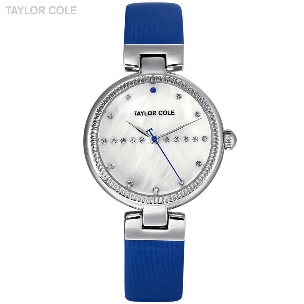 Taylor Cole New Design Women Watches Silver Crystal Case Watches Blue Leather Strap zegarki damskie Elegant Quartz Watch / TC114 taylor cole relogio tc013