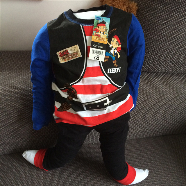 Jake and the Neverland Pirates boy clothes long sleeve pajama pure cotton sleepwear for boys Pirate for kids