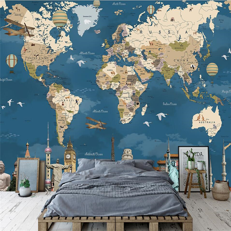 Wellyu  Custom Wallpaper 3d Mural Retro Nostalgia World Map TV Background Wall Living Room Green Silk Cloth Material Wallpaper