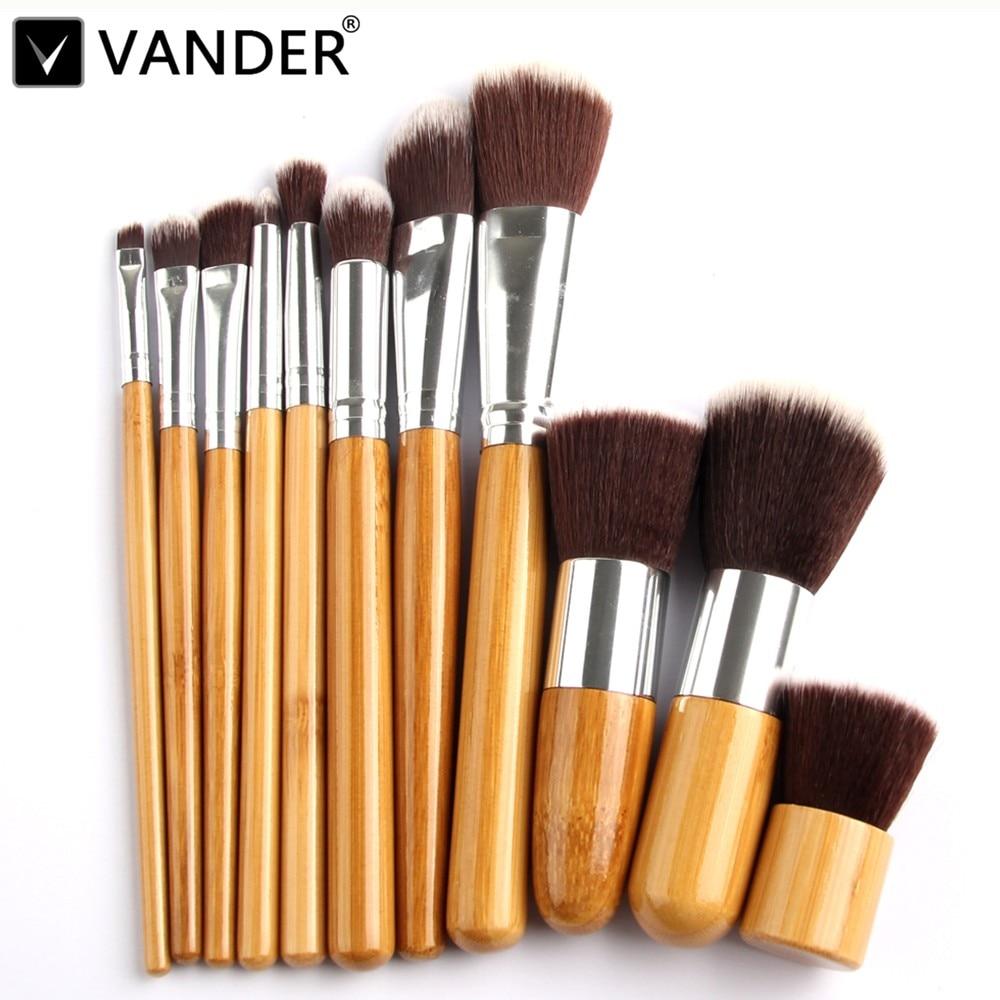 Vander Pro 11Pcs Cosmetics Tools Bamboo Makeup Blush Brush Eyebrow Foundation Powder Kabuki Brushes Kits Set pinceaux maquillage фонарик vander multifunctional18650 edc