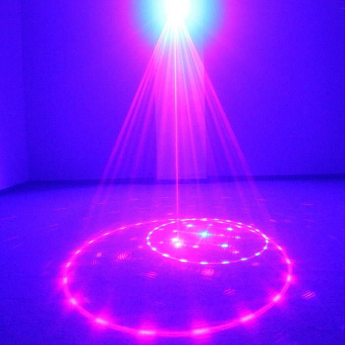 AUCD Mini 12 Pattern Red Blue Laser Projector Stage Light 3W LED Mixing Effect DJ