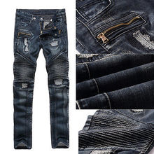 High Quality Mens Ripped Biker Jeans Vintage Cotton Black Motorcycle Jeans Men Vintage Distressed Denim Jeans Pants Zipper