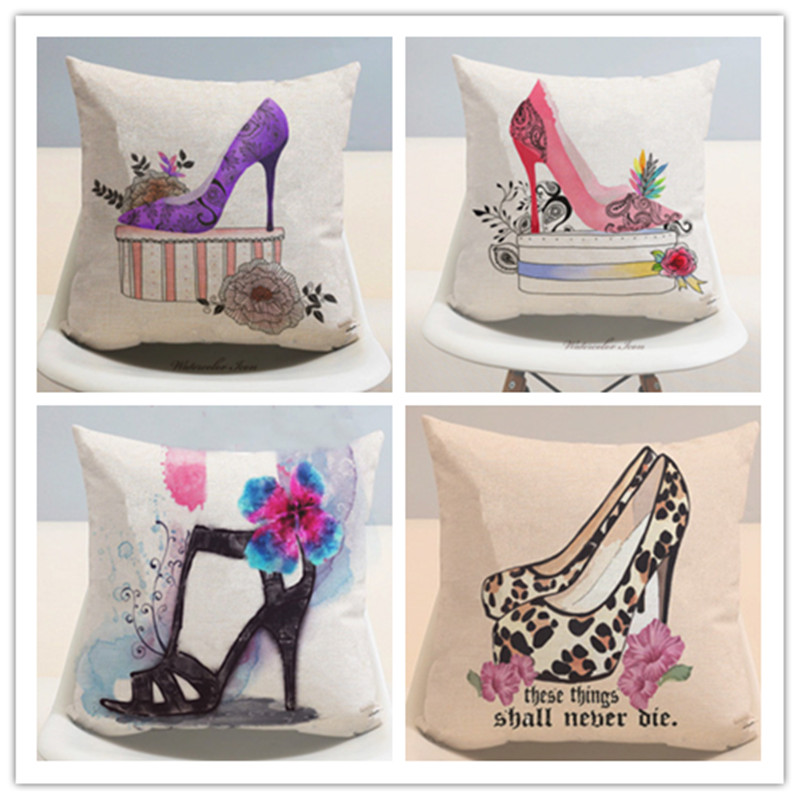 Watercolor High Heeled Shoes Linen Cotton Pillow Home