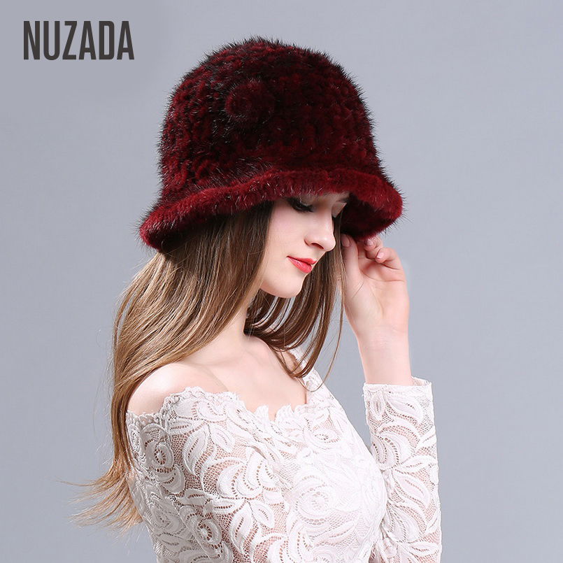 Brand NUZADA Knitted Caps Women Lady Girl Real Truly Mink Fur   Skullies     Beanies   Autumn Winter Hat Warming Effect Fashion Cap