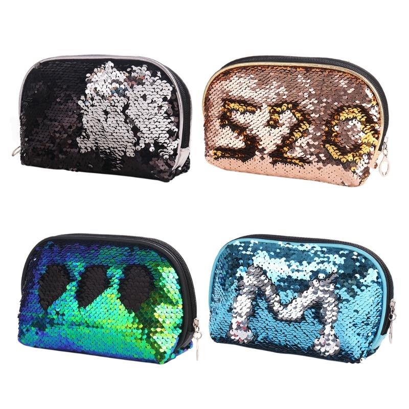 THINKTHENDO Fashion Women Sequin Pencil Case Cosmetic Makeup Coin Pouch Storage Zipper Purse Bag Mini