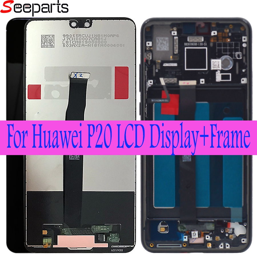 Huawei P20 LCD Screen Touch Screen Digitizer Assembly EML L29 L22 L09 AL00 For Huawei P20 LCD With Frame Replacement Parts