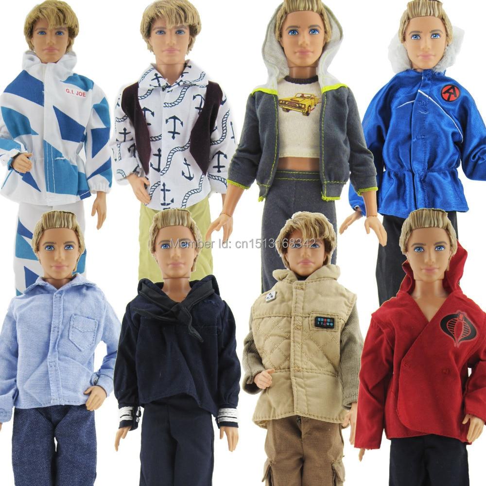 3 szett divat kézzel készített alkalmi férfi ruhák napi viselet ruhák barbie barátnője Ken doll véletlenszerűen válogatás ingyenes szállítás