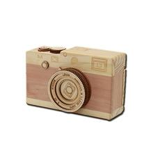 Creative handmade wooden crafts music box clockwork toy camera girls children birthday gift ornaments for baby gifts