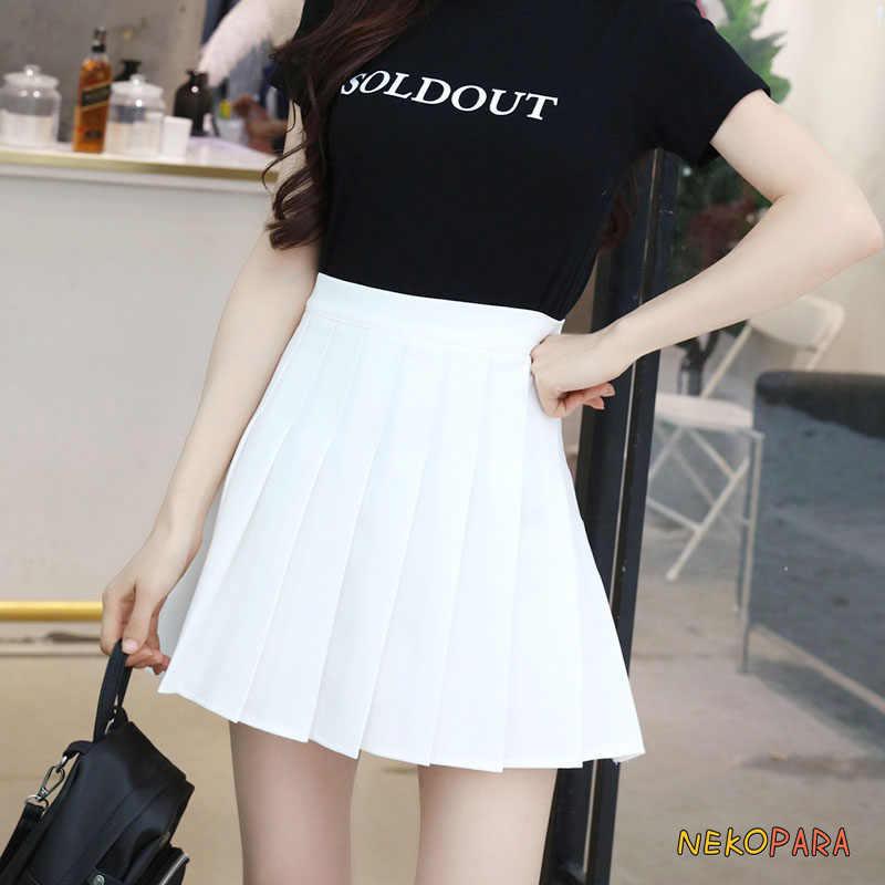 4bfd8bda1 ... Japanese Style Women's Cute Girls Student Uniform JK Solid Pleated  Skirt High-waisted Mini Skirt ...