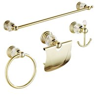 AUSWIND 4 Pieces Gold Polished Bathroom Accessories Sets Brass&Crystal Towel Bar Wall Mounted Paper Holder Bathroom Hardware Set