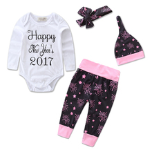 Newborn Baby Girls Clothing Set Hello World Tops Bodysuits + Long Pants +headband+hat 4Pcs Baby Girl Outfits Set Clothes