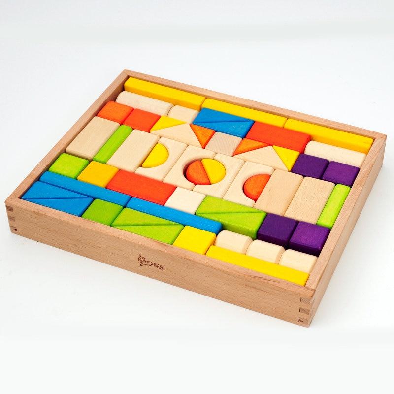 Colore del legno blocchi giocattoli per i bambini, di Faggio 54 PCS di colore blocchi di Costruzione, giocattoli Educativi per bambini, di alta qualità blocchi di legno naturale-in Blocchi di legno da Giocattoli e hobby su  Gruppo 1