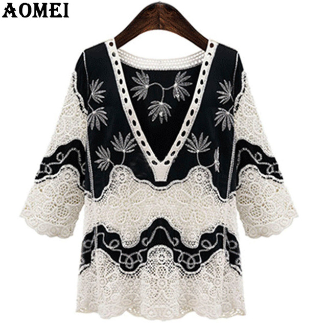 d9ac7ced4f1 Women Tops Crochet Blouse Shirts Sexy V Neck Summer White Black Tops  Clothing Cotton Patchwork Lace Blusas Plus Size 4XL Casual