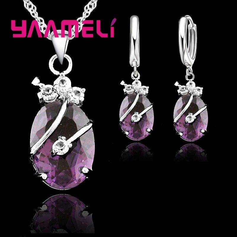 Neue Mode Vintage-Schmuck-Sets Für Frauen 925 Sterling Silber Kristall Stein Anhänger Charme Hochzeit Halskette Hoop Ohrringe