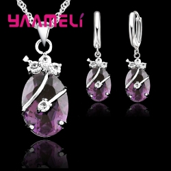 New Fashion Vintage Jewelry Sets For Women 925 Sterling Silver Crystal Stone Pendant Charms Wedding Necklace Hoop Earrings