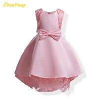 Kid meisjes kant bloemen en vlinderdas bruidsmeis baby meisjes mouwloos Asymmetrische jurk ontwerp mooie jurk