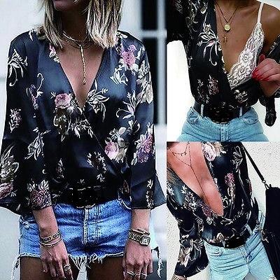 Spring Loose Sashes Like Silk Blouse Women Kimono Sexy Deep V-neck Satin Shirt Floral Women Long Sleeve blouse Shirt