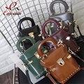 Винтаж простой мода кожа pu заклепки box сумочка дамы сумка повседневный сумки лоскут кошелек crossbody мини сумка